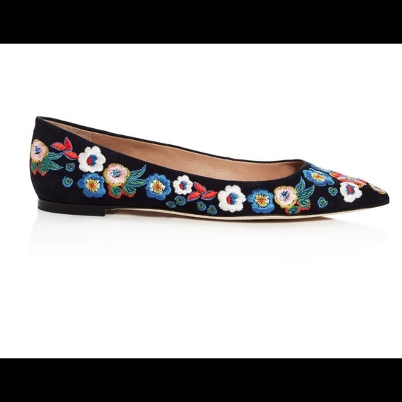 67c04305f1d496 Tory Burch Rosemont Embroidered Suede Pointed Toe.  M 5a6d51a66bf5a69be9f4a3ab